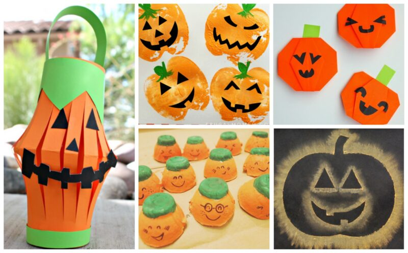 lots of fun, clever pumpkin crafts, jack olantern crafts out of paint, construction paper, chalk, acrylic paint and more