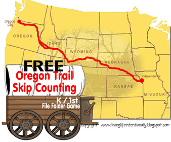 free Oregon Trail Skip Counting File Folder Game for hands on history fun for homeschoolers
