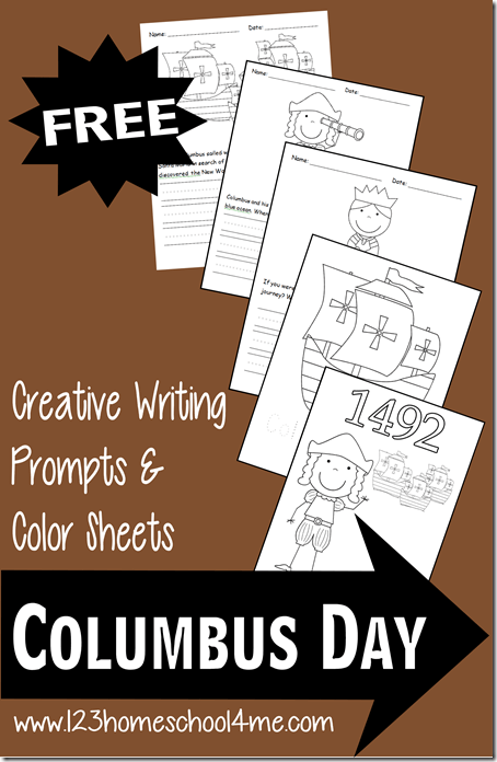FREE Columbus Day Writing Prompts and Coloring Pages to help kindergarten, prek, first grade, 2nd grade, and 3rd grade kids to learn about Columbus in 1492.  #coloringpages  #writingprompts #columbusday