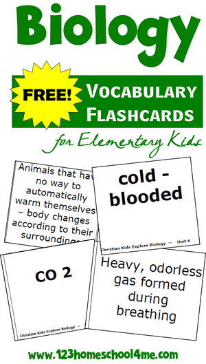 FREE Biology Vocabulary Flashcards