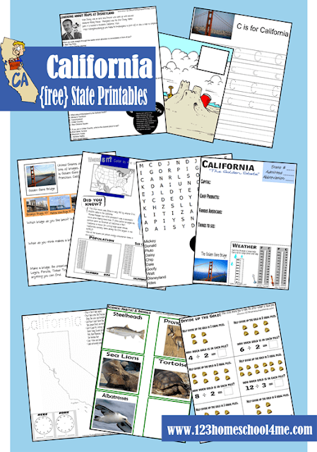 Teach kids about unique landmarks, capitals, what each state is known for, wildlife, and so much more with these states worksheets by state; pictured is California.