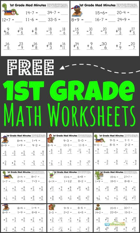 Help your first grader get the math practice they need to achieve fluency with addition and subtraction by using these super cute, free printable 1st grade math worksheets. Simply download pdf file and print the first grade math worksheets. You will be ready to practice math with grade 1 students any time! Plus instructions for how to turn free math worksheets into a fun math game - MAD MINUTES!