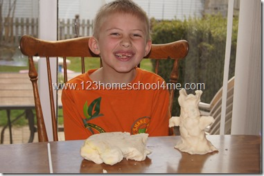 sculpting statues out of playdough