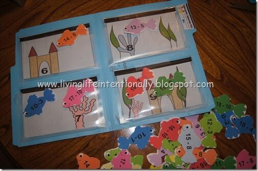 Subtraction Fish File Folder Game 1st
