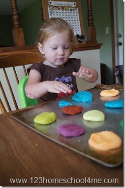 Making play doh cookies