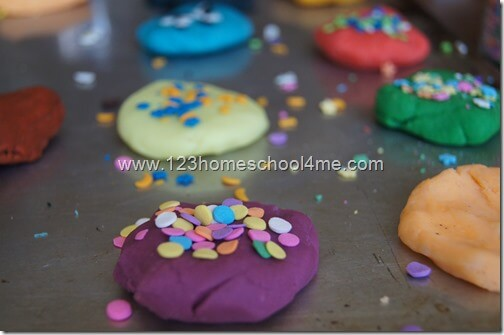 Making playdough cookies