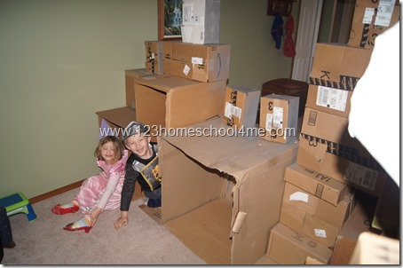 insie our cardboard box castle