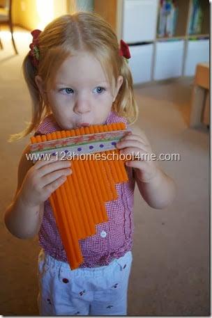 DIY Zamponas - a South American Instrument made by Toddler, Preschool, and Homeschooler