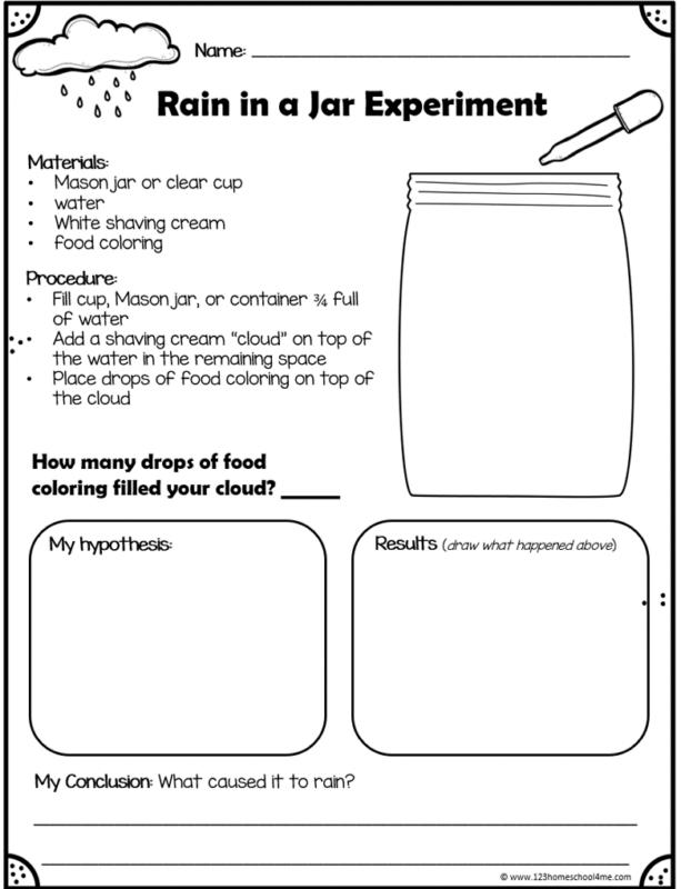 cloud in a jar experiment worksheet