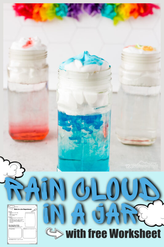 Make learning about clouds for kids FUN with these engaging cloud activities. We have several weather activities for spring including rain cloud in a jar, cotton ball types of cloud activity with cloud printables, and free printable cloud in a jar experiment worksheet. Use thecloud in a jar experiment with toddler, preschool, pre-k, kindergarten, first grade, and 2nd grade students. Whether you do all the cloud lesson or just the hugely popularrain experiment - this is sure to be a fun spring activity for kids!