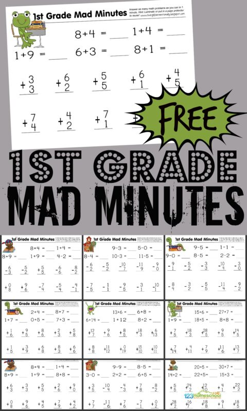 Help your first grader get the math practice they need to achieve fluency with addition and subtraction by using these super cute, free printable 1st grade math worksheets. Simply download pdf file and print the 1st grade math worksheets. You will be ready to practice math with grade 1 students any time! Plus instructions for how to turn free math worksheets into a fun math game - MAD MINUTES!
