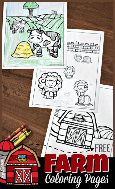 FREE Farm Coloring Pages - super cute, simple coloring sheets perfect for toddler, preschool, kindergarten and first grade kids. perfect NO PREP kids activity for farm unit, rainy day coloring, etc. #coloringsheets #coloringpages #farm