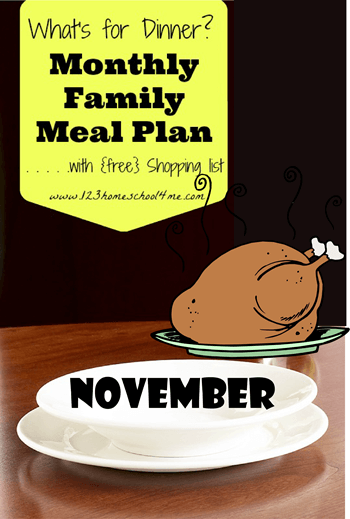 November Family Meal Planner with Free shopping list - easy family meal planner, meal planning printable, monthly meal planning, with lots of yummy recipes for families