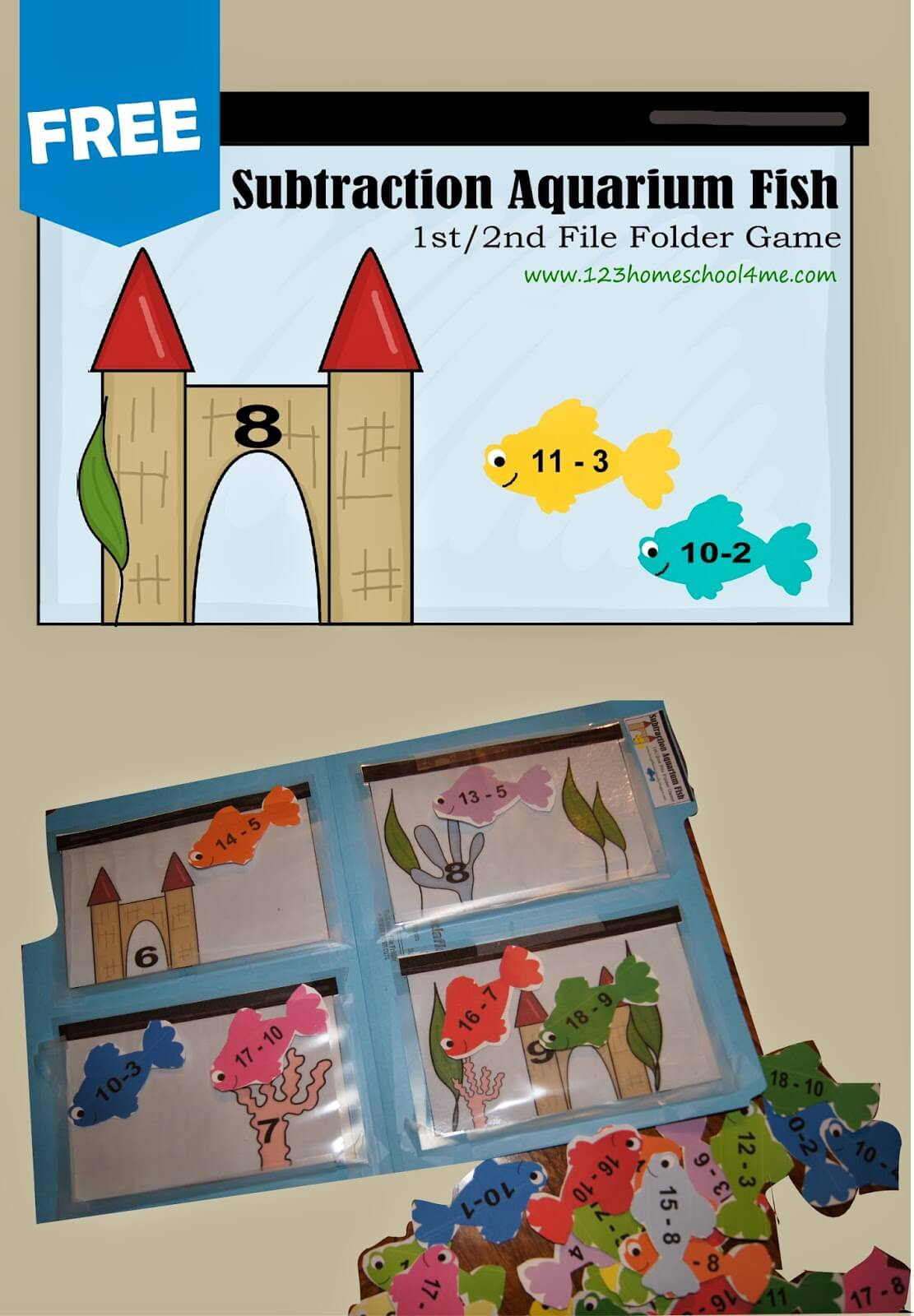 Help kid practice subtraction with the free printable math games for 1st grade and 2nd grade kids with a Aquarium fish theme.