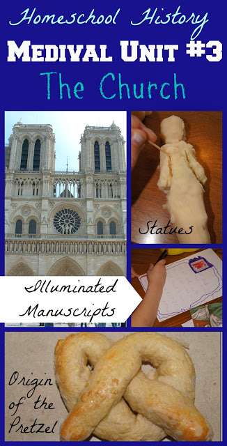 Medieval Unit on the Influence of the Church - fun, hands-on history for kids study with lots of clever ideas to teach kids about the middle ages including the origin of the pretzel, illuminated manuscripts, making statues, and more! #historyforkids #middleages #homeschooling