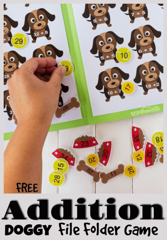 Makeaddition practicefun for kindergarten and grade 1 students with this super cute, free printable Addition Games with a fun dog theme! Simply download pdf file with theprintable addition game and easily assemble into amath file folder game. Now children can solve the equations and math the doggies to the food, collar, bones, or playful balls.