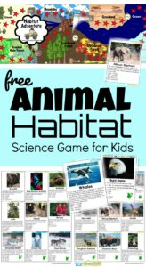 In our homeschool science we've been learning about the Biosphere. To help my kids better understand the different Biomes, I created this habitat game to help kids learn about he different major biomes and habitats animals live in. Habitat Adventure is a free printable Science game that teaches pre k, kindergarten, first grade, 2nd grade, 3rd grade, 4th grade, 5th grade, and 6 the grade students about 8 Major Biomes of the World, 60+ animals, as well as Taxonomy.