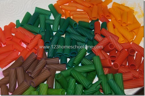 Colored Pasta Preschool Craft