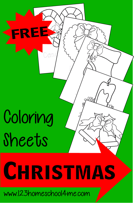 FREE Christmas Coloring Pages - super cute, simple coloring pages for toddlers, preschoolers, and kindergartners featuring common Christmas items #Christmas #coloringpages #preschool