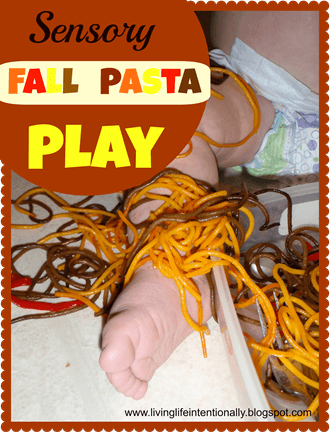 Fall Sensory play with Pasta