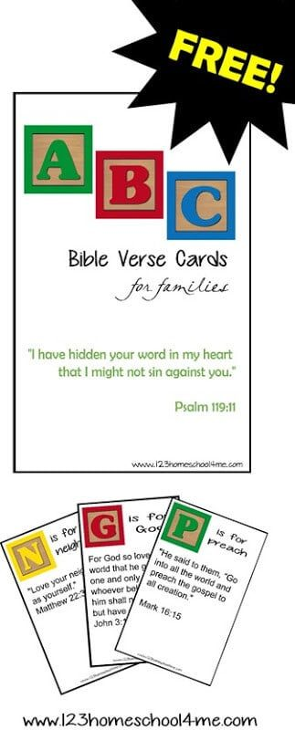 FREE Printable Family Scripture Verses to help your kids learn to memorize the Bible. These Bible Verses for Families are 26 verses your family can print and memorize together #bibleversese #bible