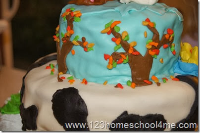 close up of the back of the farm cake