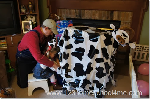 Farm Party Milk the Cow Game and Decoration