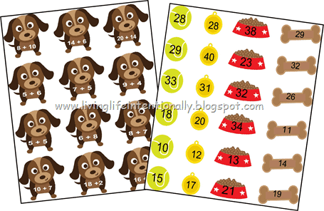 super cute file fold addition game for kindergarten and first grade students to practice math with a cute doggy theme