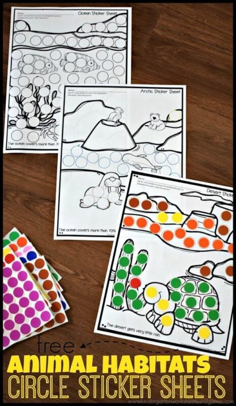 Animal Habitats Sticker Worksheets