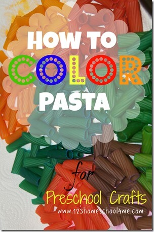 Learn how to color pasta with this simple method to make  preschool crafts like pasta necklaces, pasta art projects and more #kidsactivities #cratsforkids #preschool