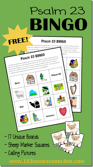 graphic regarding Bible Bingo Printable referred to as Free of charge Psalm 23 Bible Bingo 123 Homeschool 4 Me