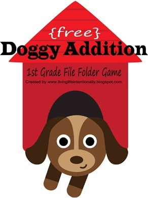 FREE Dog Addition Game - this low prep file folder game for kindergarten and first graders is a fun way for kids to practice math while having fun. #addition #mathgames #firstgrade