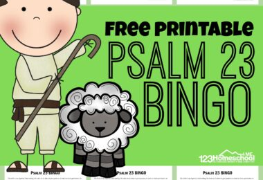 This free printable Psalm 23 BINGO is a fun way for children to learn Psalm 23 and work on recalling Psalm 23 memory work. We used this Bible game in our Sunday school lesson to go along with our unit on the Psalms and David. This is a funpsalm 23 activity sheets for kindergarten, first grade, 2nd grade, 3rd grade, and 4th grade students.
