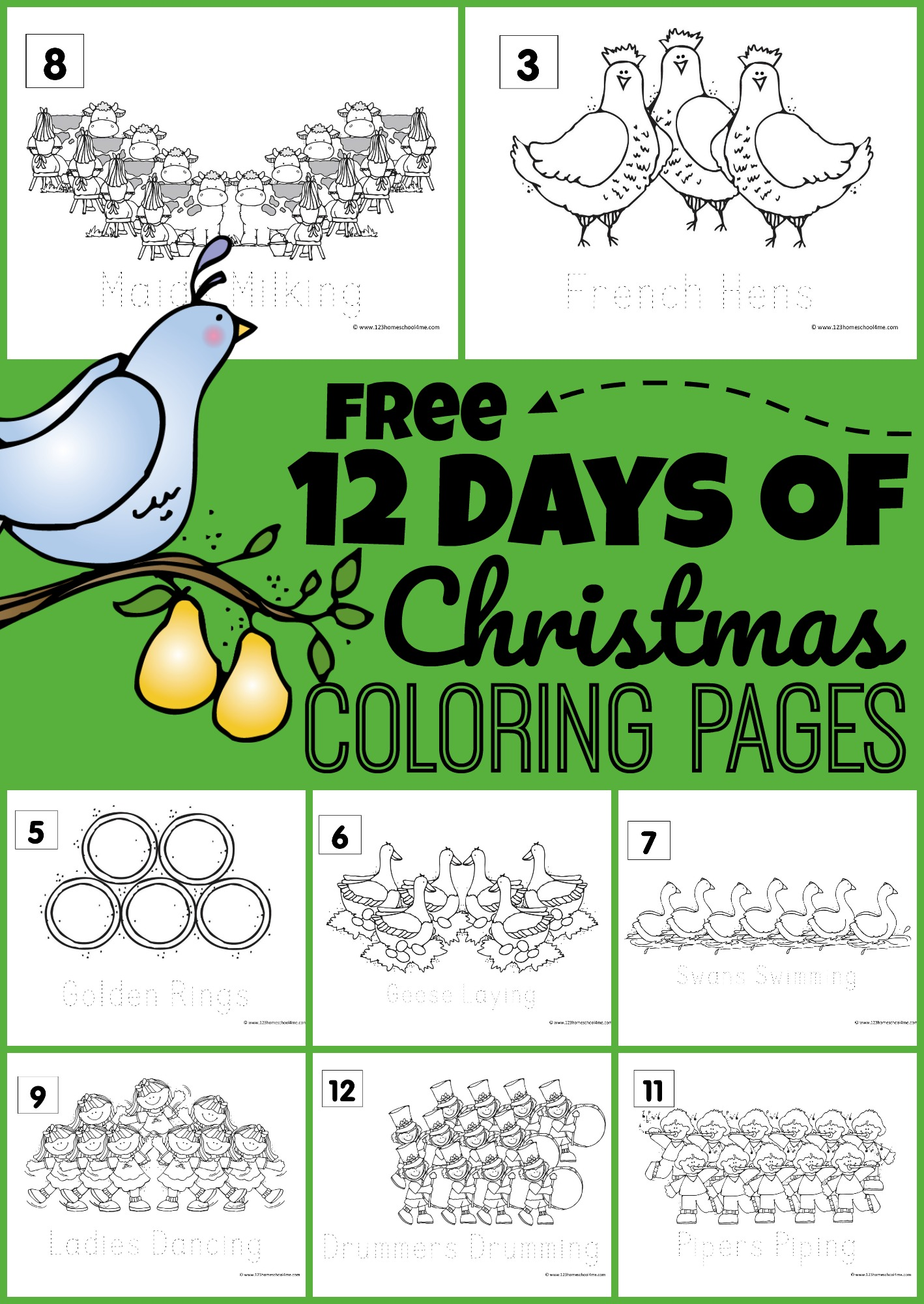 Free 12 Days Of Christmas Coloring Pages