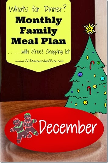 FREE December meal planner with recipes and shopping list #mealplanner #christmas #recipes