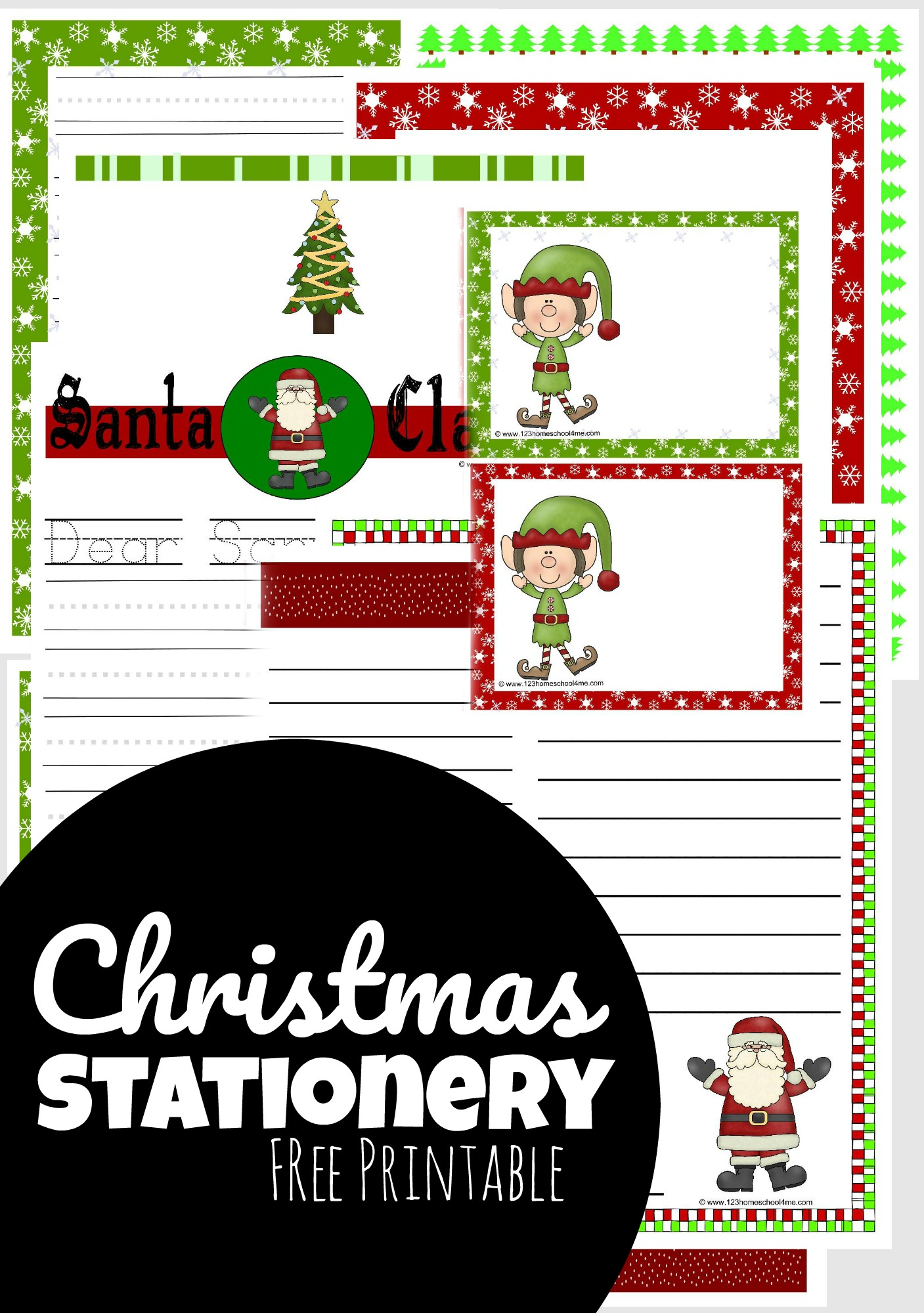 Whether you are are planning in writing a letter to Santa, notes to your children, silly Elf on the shelf notes, work on creative writing prompts in December, write your Christmas letter, or some other use - this huge pack of free printable christmas stationery is super handy! Simply download the pdf file and print the cute Christmas pages.