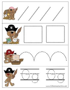 Gingerbread pirate pre writing printables