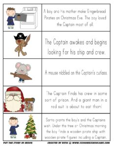 The Gingerbread Pirates christmas story sequencing activity