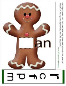 gingerbread man create a word read an family