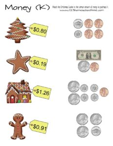Counting coins gingerbread cookie counting money practice