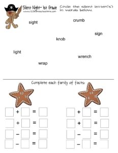 Gingerbread fact families and silent letters
