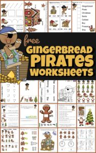 Kids will love learning in the month of December with these super cute, free christmas worksheets with a fun Gingerbread Pirates theme! Toddler, preschool, pre-k, kindergarten, and first grade students will practice tracing letters, counting, addition, word families, color by number, what is different, upper and lowercase letter g sorting, addition, and so much more while having fun with Gingerbread man worksheets. Download the pdf file with the Christmas worksheets and have fun learning this holiday season!