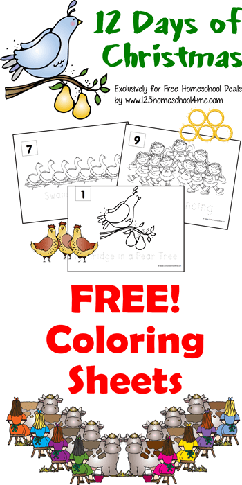 12 Days of Christmas Coloring Pages - these coloring pages free printable are a fun Christmas activities for kids! (Christmas coloring pages for kids)
