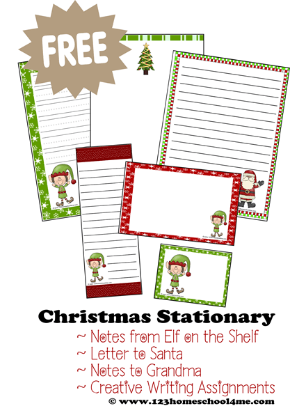 FREE Printable Christmas Stationary for crafts, creative writing, letters to Santa, elf on the shelf notes and more.
