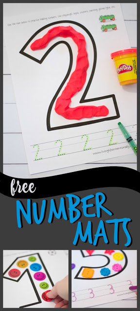 Thesefree printable number mats are great for helping toddler, preschool, pre-k, and Kindergarten age kids practice numbers 0-10. These number mats can be used with a wide variety of material to physically make the number including stickers, lego, buttons, and play doh.Number playdough mats make it fun to learn to count 1-10! On these free printable, number worksheets 1-10 children can practice counting to ten and tracing numbers too. Simply download pdf file withnumber worksheets for preschool and you are ready to play count, write, and learn!
