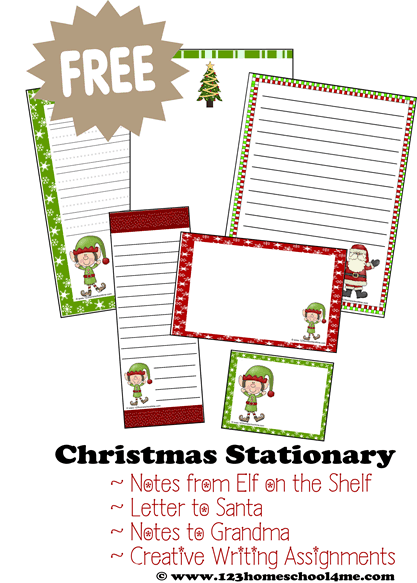 FREE Printable Christmas Stationary for crafts, creative writing, letters to Santa, elf on the shelf notes and more. #christmas #christmasstationary #decemberletters