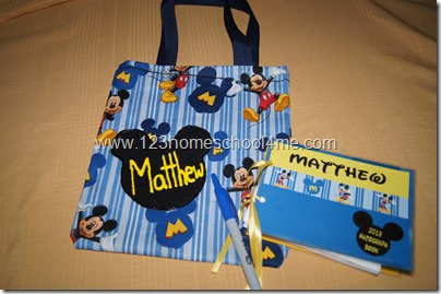 disney autograph book and bag