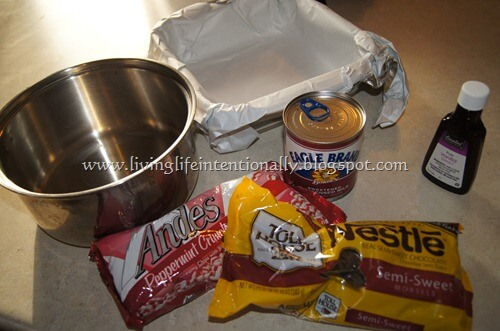 gather all your ingredients including Andes Peppermint Chips