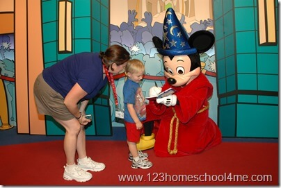 Getting autographs from Mickey Mouse