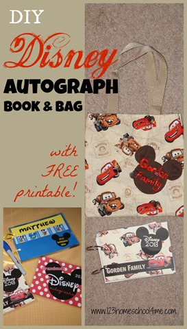 graphic regarding Printable Disney Autograph Book named Do-it-yourself Disney Autograph E book and Bag 123 Homeschool 4 Me